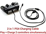 LeSB Playstation 4 USB Ladekabel für PS4 Controller DualShock 4 Wireless Controller (3m, 2 in 1, schwarz)