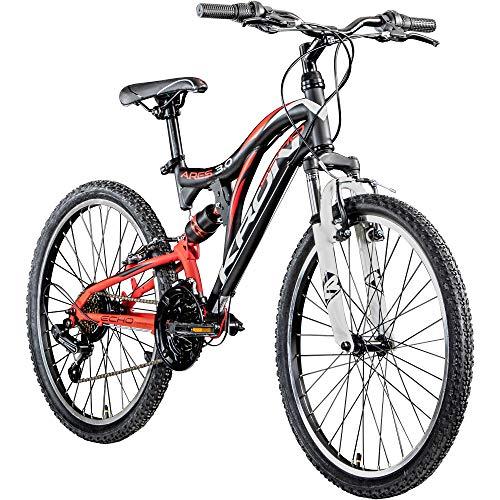 KRON Mountainbike Fully 24 Zoll Jugendrad Fahrrad Ares 3.0 MTB 21 Gänge Rad ATB (schwarz/rot/weiß, 38 cm)