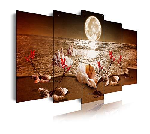 DekoArte 440 - Cuadros Modernos Impresión de Imagen Artística Digitalizada | Lienzo Decorativo Para Salón o Dormitorio | Estilo Paisaje noche Luna Iluminando Playa Flores Rojas | 5 Piezas 200x100cmXXL
