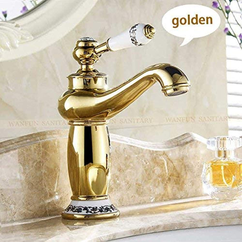DFBGFMN Neue Ankunft Bad Wasserhahn Keramik Chrom verchromt Messing Waschbecken Wasserhahn Einhand Wasser Waschtischmischer tippt M - 16L, Golden