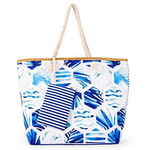 Bolsa de Playa Grande de Lona Mujer, bolsas playa con Cremallera Bolsas de viaje Bolsos bandolera Bolsos de mano Bolsos mochila Bolsos totes Shopper (azul)