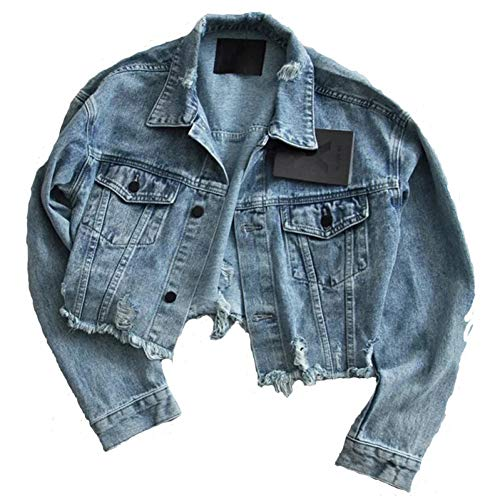 NSWTKL jeansjas vrouwen gat jeansjack Plus size lange mouwen basic jasje losse jeans jassen Big Pocket Ladies 'Denim Outwear
