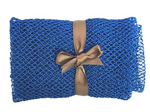 Nature by EJN - Net Bath Sponge, Long, Skin Exfoliation, African, Porous (Shade of Blue, 49