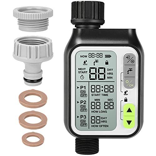 Fixkit Timer per Irrigazione, Programmatore di Irrigazione Computer per Irrigazione con Sensore Pioggia, Timer Irrigazione Giardino con LCD Display, modalità Blocco Bambini