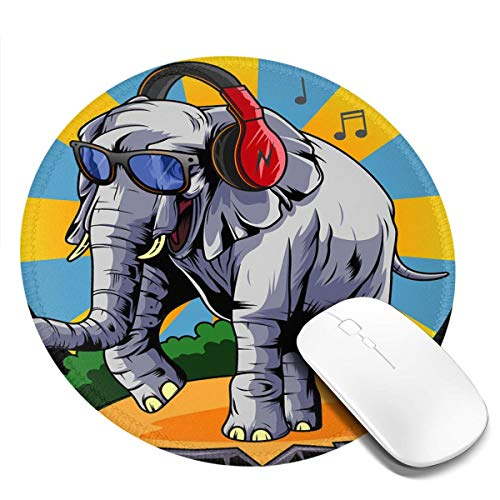 Mouse Pad Headset Music Elephant Mouse Pad Non-Slip Rubber Game Mouse Pad Round Notebook Computer Mouse Pad