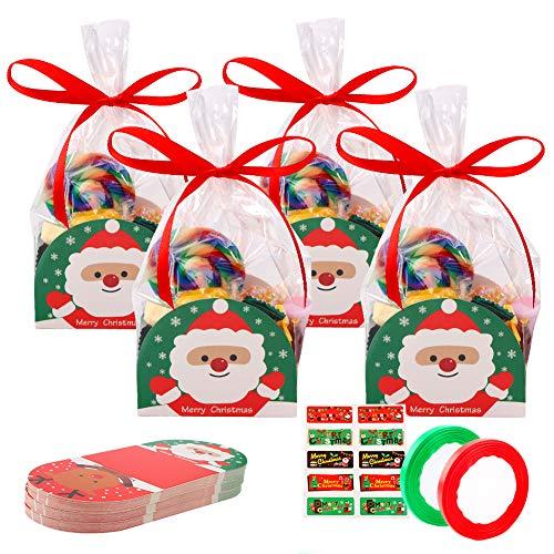 50 pz Sacchetti Biscotto Plastica Sacchettini Trasparenti Alimentari con 50 pezzi di carta natalizia, adesivi per sigillare 5 fogli e 2 rotoli di nastro,Sacchetti di caramelle Biscotti Dolci Sacchetti