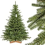 FairyTrees Abeto de Baviera Premium, Árbol Navideño Artificial con Soporte de Madera, 180cm