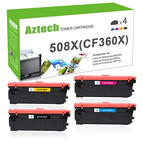 Aztech Kompatibel Toner Cartridge Replacement für HP 508A 508X CF360X CF361X CF362X CF363X Toner für HP Color Laserjet Enterprise M552dn M553dn M553n M553x HP Color Laserjet Enterprise MFP M557