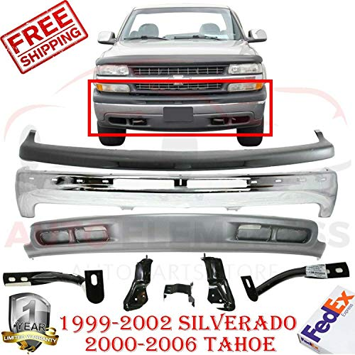 New Front Bumper Chrome Steel For 1999-2002 Silverado 1500 Light Duty Models / 2000-2006 Tahoe Direct Replacement Upper Filler Cover Lower Valance Air Deflector + Brackets
