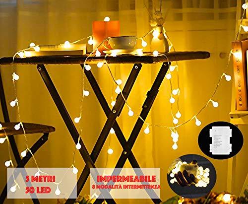 JP-LED Catena Luminosa Di Luci Led 5M Batteria【filo di 50 lampadine 5M e Impermeabile】Luci Da Esterno E Interno Portatili Con 8 Modalità Flash Per Giardino,Casa, Feste, Natale, Matrimonio, Decorazioni