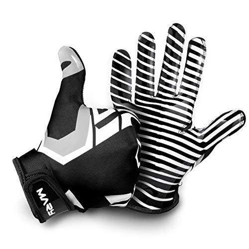 Hail Mary American Football Handschuhe Gloves Receiver Empfänger 2.0 Black & White Edition (XL)