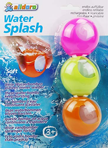alldoro 60206 - Water Splash 3er Set Wasserbomben, Wasserballons wiederverwendbar & selbstschließend, Wasser Balloon für Garten, Strand & Party, für Kinder ab 3 Jahren & Erwachsene, Farben sortiert