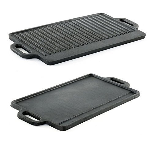 HomeZone Heavy Duty Small Cast Iron Non Stick Griddle Pan (22cm x 15cm). Double Sided Reversible Skillet Pan