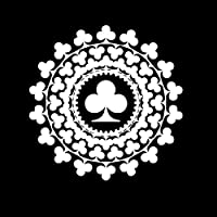 車 ステッカーデカール-ポーカープラムパターンデカール 車の窓の装飾の個性PVC防水デカール黒/白17cmx17cm-白