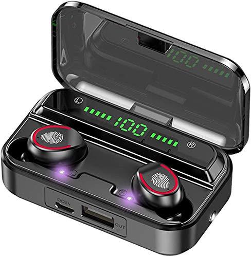 Plztou Pantalla LED 1 - Bluetooth 5.1 Auriculares TWS Auriculares inalámbricos táctil de la Linterna Impermeable Deportes Música 2000mAh Auriculares Micrófono Auriculares (Color : 1 LED Display)