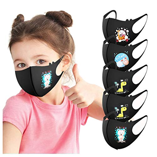 Kids Reusable Breathable Face Bandanas 5PCS Seamless Face Cotton for Boys Girls for Outdoor School, Washable Dustproof (5PC/Black)