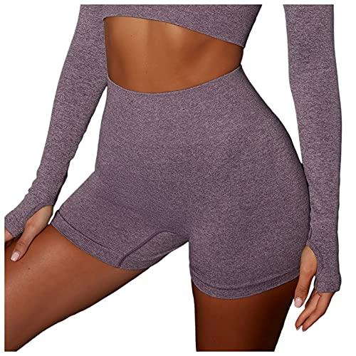 JIAYOUA Damen Kurze Yoga Shorts Einfarbig Hintern Heben Hohe Taille Yogahosen Attraktive Figur Bauchkontrolle Anti Cellulite Stretch Hotpants Push Up Atmungsaktiv Trainingshose