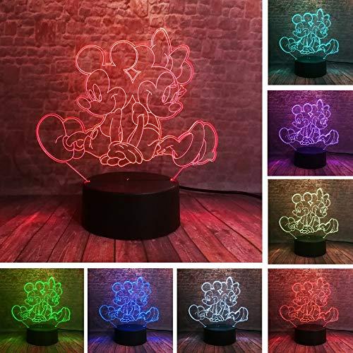dwqerwre 3D Veilleuse Nuit Assis à jouer Minnie Mickey Mouse 3D LED nuit 7 couleurs USB lumière hologramme bébé dormir décor ami jouets cadeaux