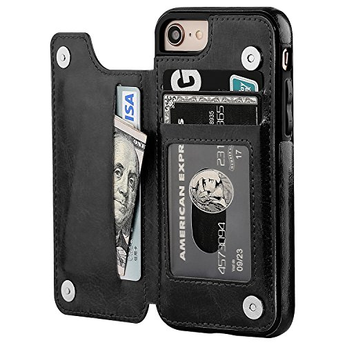 iPhone 8 Wallet Case with Card Holder,OT ONETOP iPhone 7 Case Wallet Premium PU Leather Kickstand Card Slots,Double Magnetic Clasp and Durable Shockproof Cover 4.7 Inch(Black)