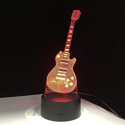 NSYW Guitarra Eléctrica 3D Lámpara Led 7 Lámpara De Mesa USB ...