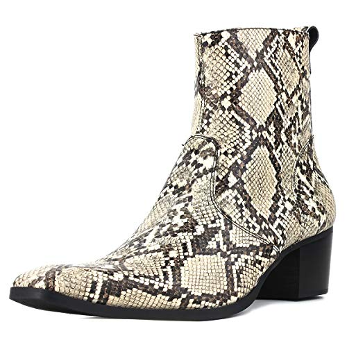 Suetar Herren Wild Schlange und Krokodil Stil Handgefertigte Leder Cowboystiefel JY008,Schlangen-Stil,46 EU