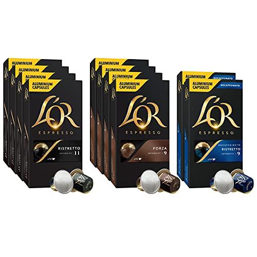 L Or - Capsule Caffè Espresso Confezione Mista - Variety Pack Espressi - Cofanetto Capsule di Alluminio Compatibili Nespresso - 10 Pacchetti [100 Capsule: 40 Ristretto, 40 Forza, 20 Decaffeinato]