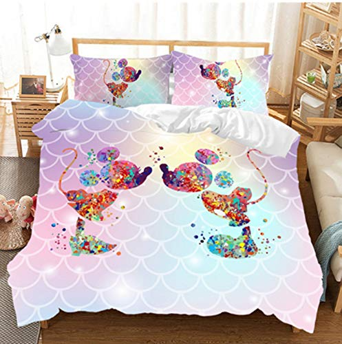 BATTE Disney Duvet Cover Set,3D Mickey & Minnie Mouse Anime Printed Bedding Set,Soft Quilt Cover with Pillowcases for Hotel Family Bedroom (I,220 x 240 cm)