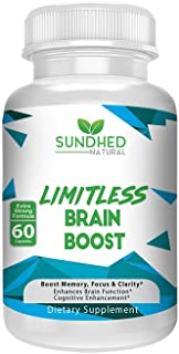 Sundhed Natural Limitless Brain Boost (60 caps) - Memory, Focus, Mental Clarity - Nootropics Scientific Formula for Enhance Performance, Super Ginkgo Biloba, St John Wort Extract, DMAE