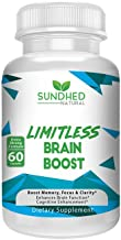Sundhed Natural Limitless Brain Boost (60 caps) - Memory, Focus, Mental Clarity - Nootropics Scientific Formula for Enhance Performance, Super Ginkgo Biloba, St John Wort Extract, DMAE