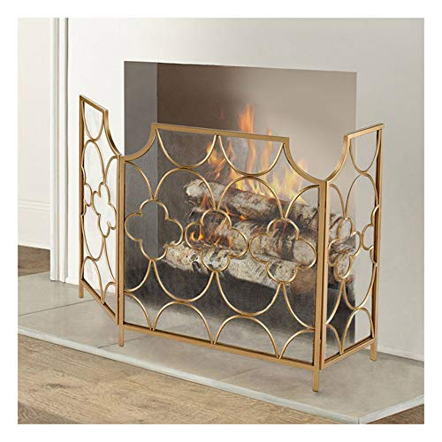 Find Bargain Fireplace Screens Chic Fireguard for Living Room, Black Mesh Fireplace Screen with Simp...
