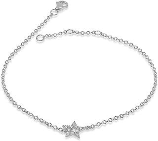 MILLE AMORI ∞ Pulsera Mujer Oro y Diamantes, longitud ajustable 18/17/16 cm - Oro Blanco 9 Kt 375 ∞ Diamantes 0.04 Kt