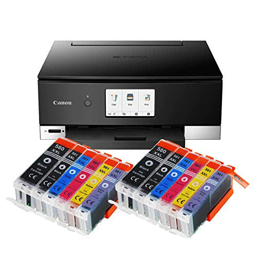 Canon Pixma TS8350 TS-8350 All-in-One Farbtintenstrahl-Multifunktionsgerät (Drucker, Scanner, Kopierer, CD-Druck, USB, WLAN, LAN, Apple AirPrint, SD-Karte) Schwarz + 12er Set IC-Office 580XXL 581XXL