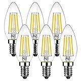 シャンデリア電球 E12口金 40W形相当 470lm フィラメント電球 LED 燭台電球 2700K電球色 3年保証 広配光 省エネ 6個入 PSE 調光器非対応