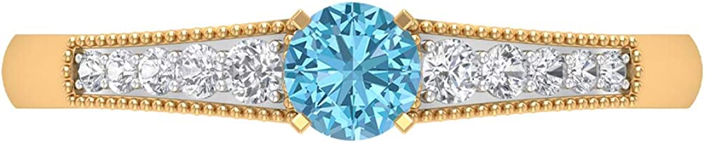 Max 70% OFF 0.48 CT Aquamarine and Diamond St Solitaire Side Ring Japan Maker New with