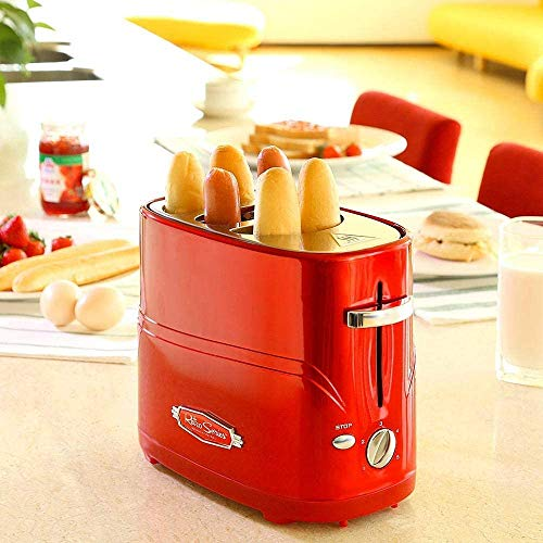 Breadmaker Afneembare Pop-up Hot Dog Broodrooster broodbakmachine met Tong Instelbare kooktijd eenvoudig te reinigen ontbijt brood Hot Dog Broodrooster 8bayfa