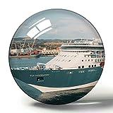 Hqiyaols Souvenir Italia Civitavecchia Crucero 3D Imán de Nevera Colección de Recuerdos Regalo de Viaje Círculo Cristal Imanes de Nevera