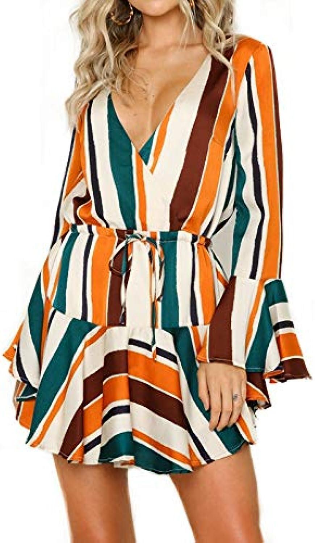 STLYQ Striped Dress Womens New Flare Long Sleeve V-Neck Ruffled Short Dress Drawstring Waist Woman Party Dress Fashionable