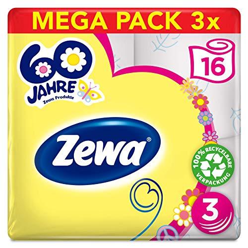 """Zewa Toilettenpapier Limited Edition\""""Hippie birthday\"""", 3-lagig, Vorratspack, 3 Packungen 16x150 Blatt"""