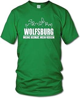 shirtloge - Wolfsburg - Fanblock - Meine Heimat, Mein Verein - Fussball Fan T-Shirt - Größe S - 3XL