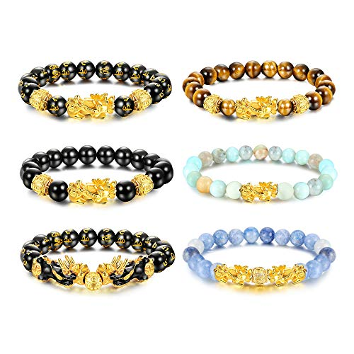 sailimue 6 Pcs Feng Shui Pixiu Good Luck Bracelets for Men Women Natural Stone Tiger Eye Bead Bracelet Pi Yao Chinese Dragon Charm Adjustable Feng Shui Black Obsidian Wealth Bracelet Set