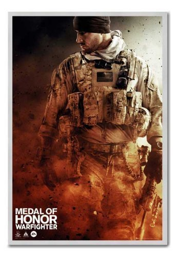 Medal Of Honour Warfighter Poster Walking Kork Pinnwand silber Rahmen, 96,5 x 66 cm (ca. 96,5 x 66 cm)