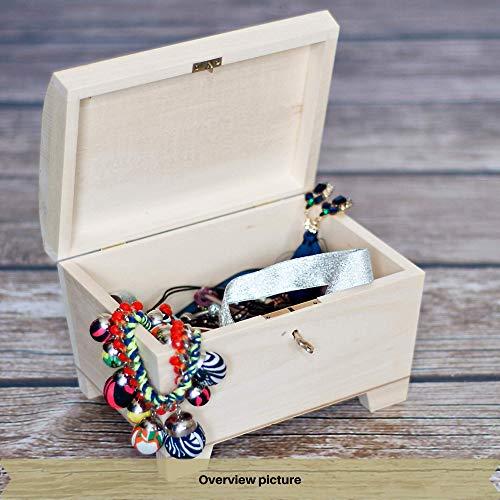 Creative Deco Große Holz-Kiste mit Deckel, Schloss und Schlüssel für Schmuck-Stücke | 20 x 14 x 12,5 cm | Abschließbare Holz-Box für kleine Gegenständen | Perfekt für Aufbewahrung und Dekoration - 6