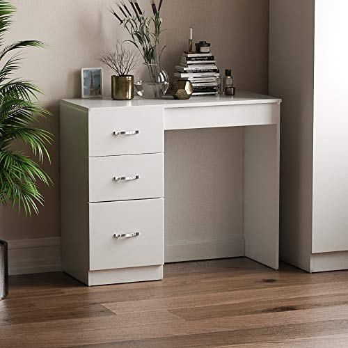 Vida Designs White 3 Drawer Dressing Table Makeup Desk Riano Bedroom Furniture