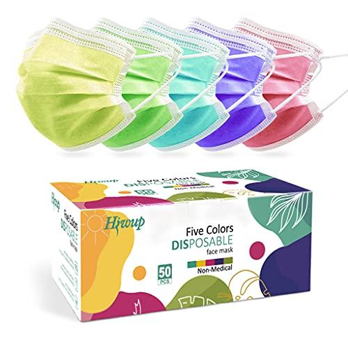 HIWUP Disposable Face Masks Multicolor Face Mask...
