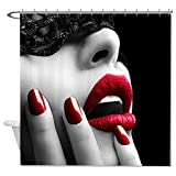 rioengnakg Sexy Retro Rot Lippen Polyester Duschvorhang Liner Mehltau wasserdicht bis, Polyester, #1, 72