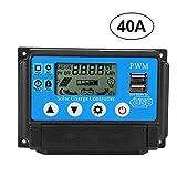 Controlador de carga solar PWM, 12/24V 10A/20A/30A/40A/50A/60A Controlador de carga solar automático Protección de circuito múltiple Trabajo automático PWM con LCD Salida dual USB de 5V(40A)