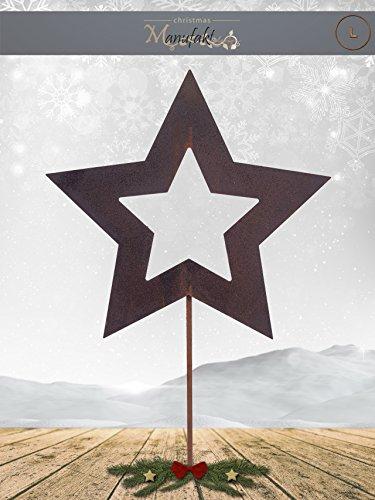 Edelrost Stern am Stab zum Stecken: Variante E/Größe L: 25cm - Wunderschöne Metall Weihnachts-Deko. Ideal für Ihren Hauseingang, im Garten oder in Ihrer Wohnung - Winterdeko von Manufakt Design