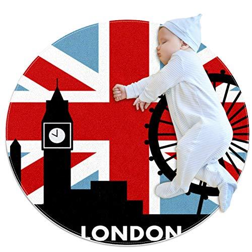 Alfombra de área redonda Alfombra Reino Unido bandera británica Londres Alfombrilla antideslizante de 31,5 pulgadas de diámetro para sala de estar, dormitorio