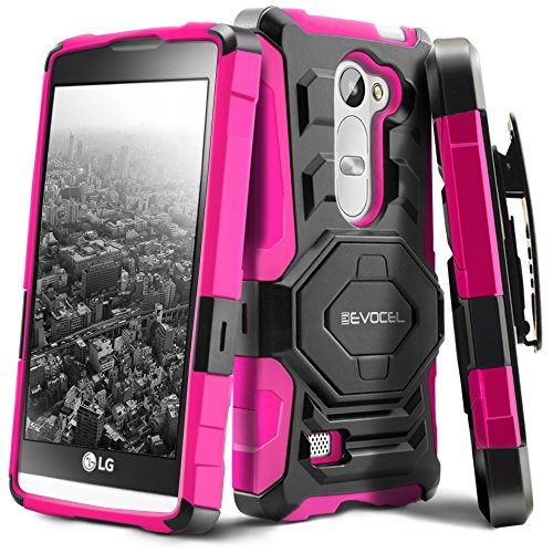 Evocel New Generation Series Phone Case Compatible with LG Leon, LG Tribute 2 (LS665), LG Destiny L21G, LG Power L22C, LG Risio with Belt Clip Holster and Kickstand, Pink