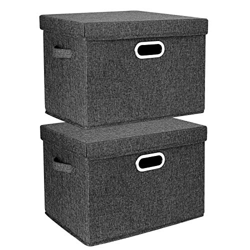 TYEERS 2er Pack Große Aufbewahrungsbox mit Deckel und Griff, Faltbarer Aufbewahrungsboxen in Würfelform Waschbar - Schwarz